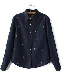 Navy Long Sleeve Embroidered Denim Blouse