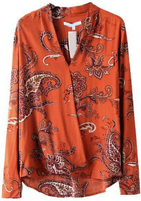 Orange V Neck Long Sleeve Floral Blouse
