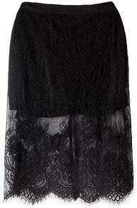 Black Embroidered Lace Split Skirt