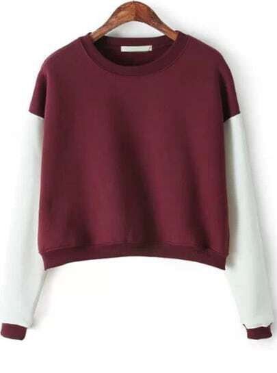 Colour-block Round Neck Crop Sweatshirt