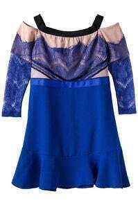 Blue Boat Neck Lace Flouncing Dress