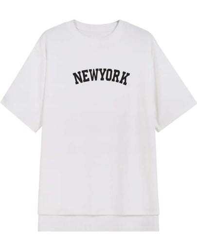 White Short Sleeve NEWYORK Print Dipped Hem T-Shirt