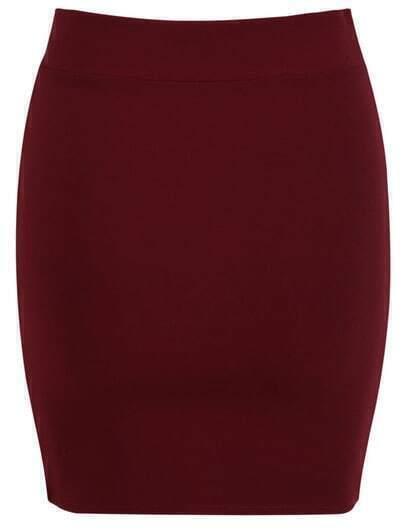 Wine Red Elastic Bodycon Slim Skirt