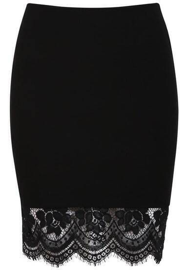 Black Elastic Bodycon Lace Skirt