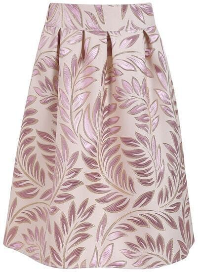 Apricot Leaves Print Midi Skirt