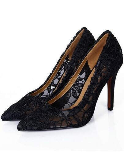 Black Point Toe Lace High Heel Shoes