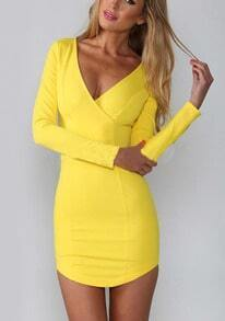 Yellow V Neck Long Sleeve Bodycon Dress