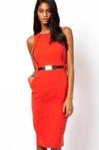 Red Sleeveless Pockets Belt Slim Dress