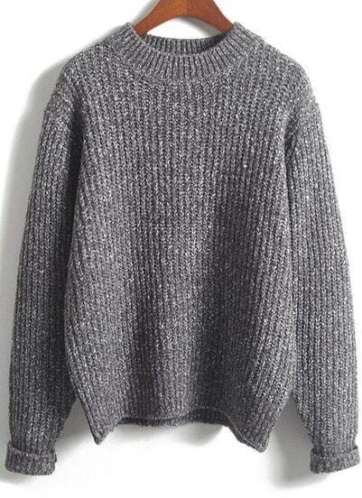 Grey Long Sleeve Loose Knit Sweater