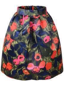 Green Elastic Waist Floral Skirt