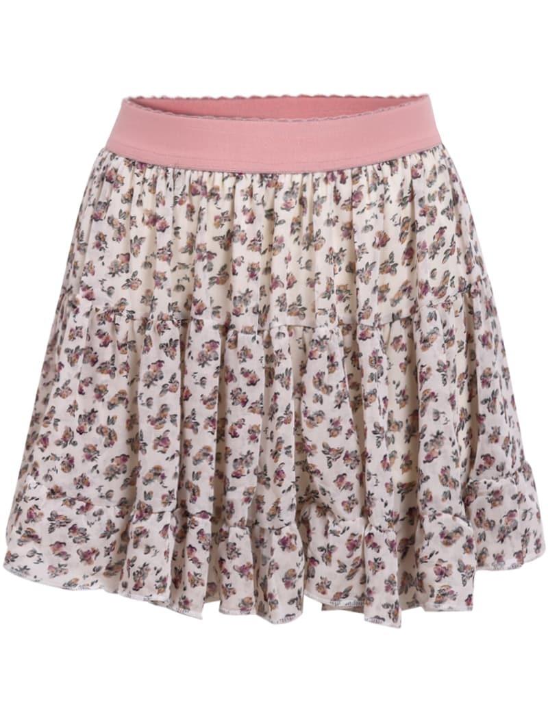 pink floral chiffon pleated skirt shein sheinside