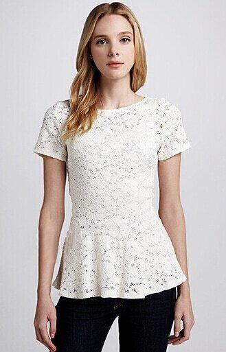 White Short Sleeve Hollow Embroidery Blouse 106