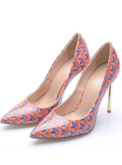 Orange High Heel Weave Print Shoes