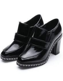 Black High Heel Chain Embellished Shoes