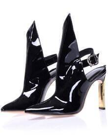 Black High Heel Buckle Patent Leather Shoes