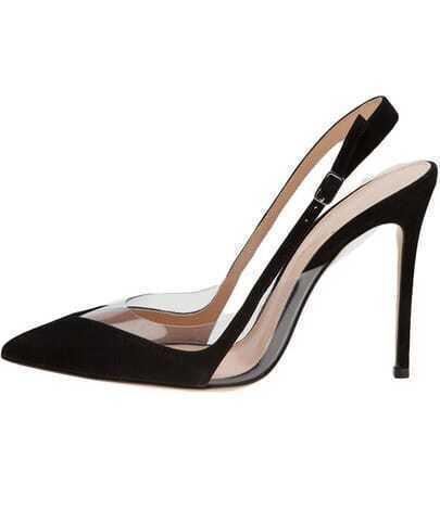 Black High Heel Ankle Strap Shoes