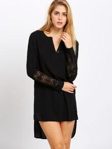 Black V Neck Lace Loose Blouse