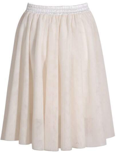Beige Elastic Waist Pleated Skirt
