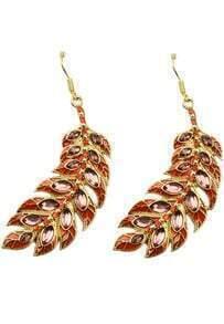 Elegant Orange Leaf Crystal Design Alloy Drop Earring