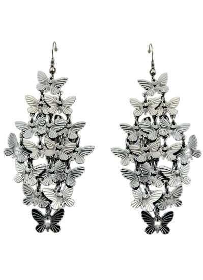 Gun Black Elegant Butterfly Design Alloy Drop Earring