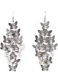 Silver Elegant Butterfly Design Alloy Drop Earring