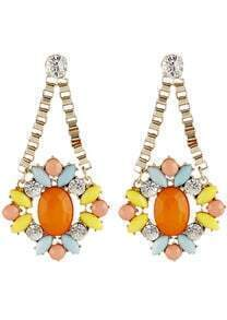 Orange Gemstone Gold Crystal Chain Earrings