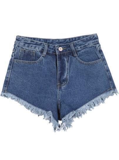 Blue Pockets Fringe Slim Denim Shorts