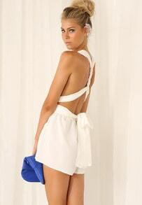 White Criss Cross Back Bow Jumpsuit