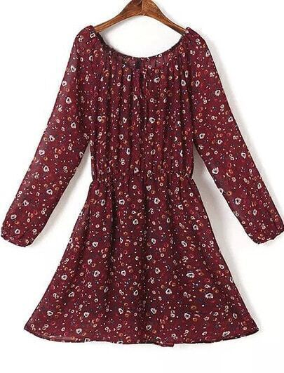 Red Long Sleeve Floral Chiffon Dress