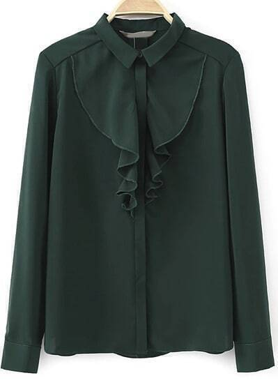 Green Long Sleeve Ruffle Slim Blouse