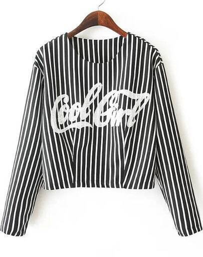 Black Vertical Stripe Letters Print Crop T-Shirt
