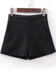 Black High Waist Pockets Shorts