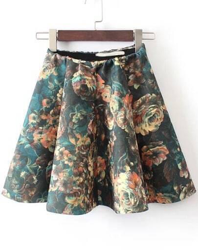 Green Elastic Waist Floral Ruffle Skirt