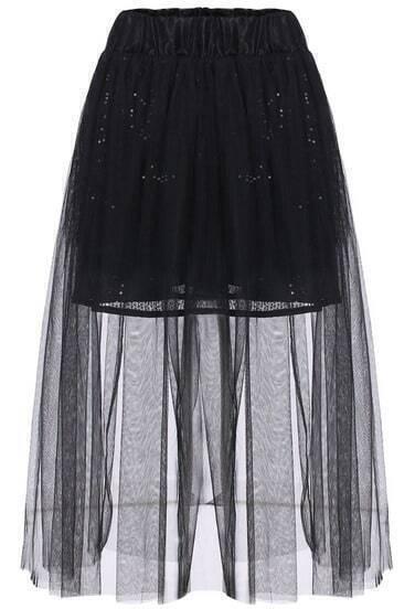 Black Elastic Waist Sequined Sheer Mesh Skirt