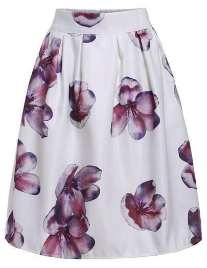 White Floral Print Midi Skirt