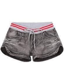 Shorts Denim con cordón-gris