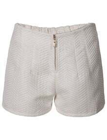 White Zipper Striped Jacquard Shorts