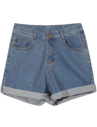 Blue Pockets Vintage Flange Denim Shorts