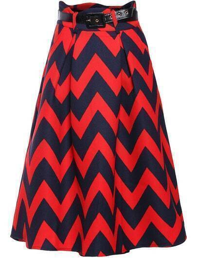 Red Zigzag Print Belt Flare Skirt