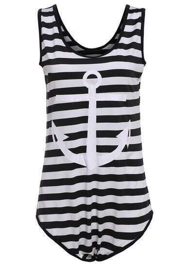 Black Striped Anchors Print Slim Swimwear