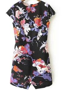 Black Cap Sleeve Floral Painted Flowered Split Dress