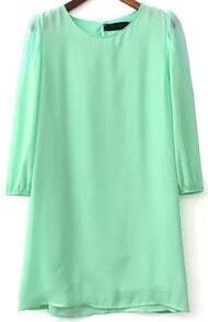 Green Long Sleeve Sheer Mesh Loose Dress