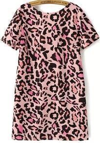 Pink Short Sleeve Leopard Backless Dress