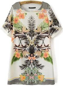White Short Sleeve Floral Geometric Print Dress