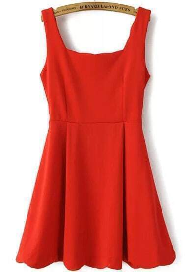 Red Strap Flouncing Scalloped Dress