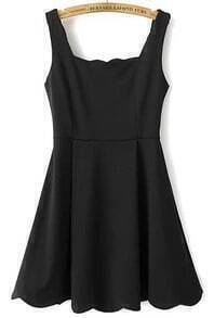 Black Strap Flouncing Scalloped Dress