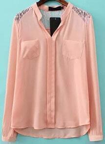 Pink V Neck Lace Dipped Hem Blouse