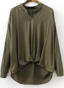 Green V Neck Contrast Chiffon Dipped Hem Blouse