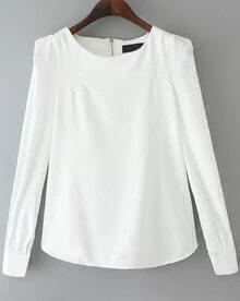 White Long Sleeve Zipper Slim Blouse