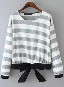 Grey Long Sleeve Striped Bow Blouse